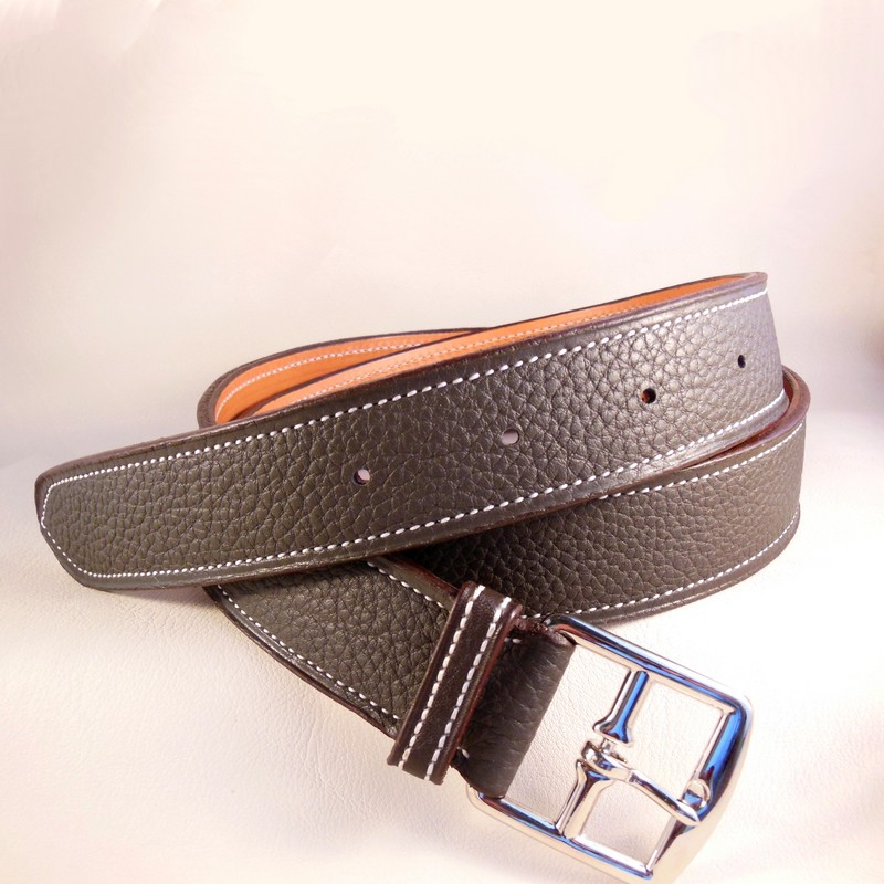 Graphite grey bull-calf belt, with stirrup buckle 35mm