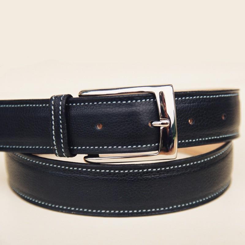 Black bull-calf belt, with rectangular buckle 36mm