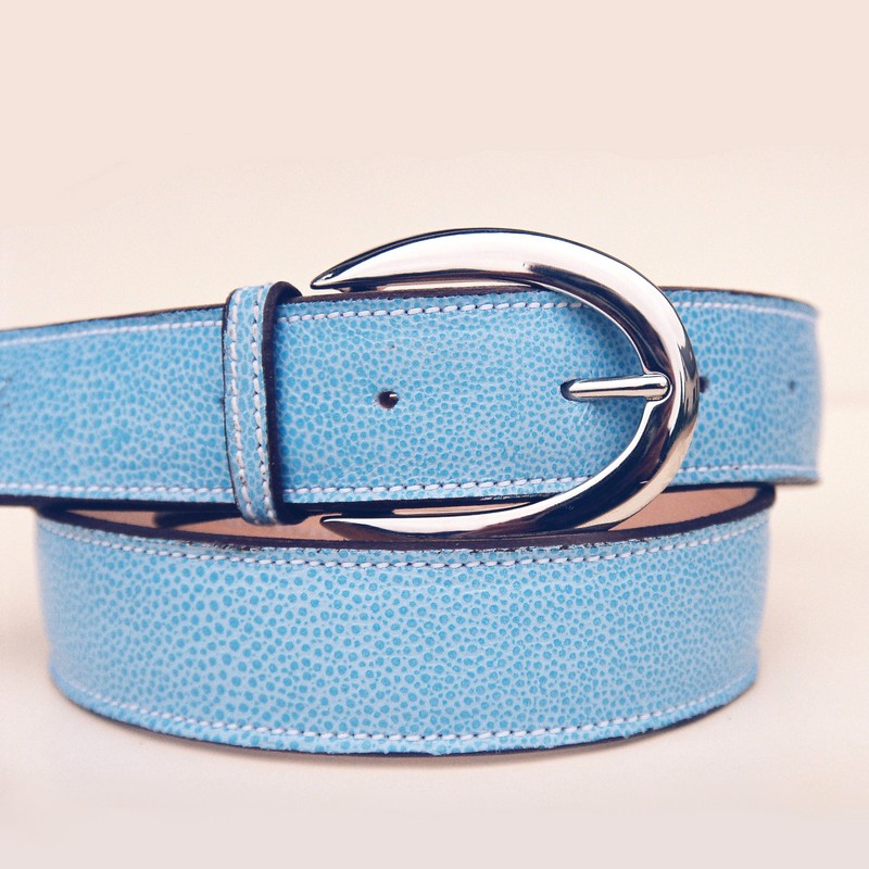 Sky-blue bull-calf belt, with ogive buckle 38mm