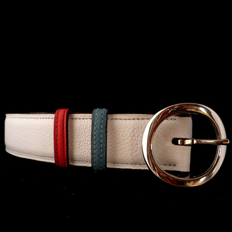 White bull-calf belt, with 4261 double buckle 35mm and with jaipur pink and blue-lagoon loose keepers