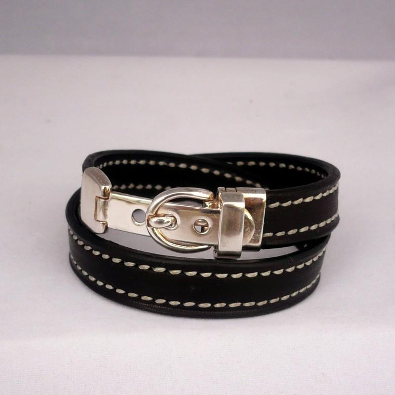 Bracelet argent massif double tour, barénia noir