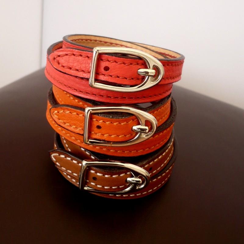 Bracelets étrier, taurillon rose jaipur, orange et barénia gold