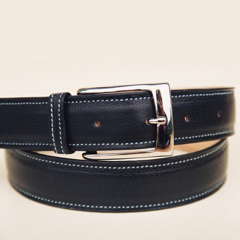Black bull-calf belt, with rectangular buckle 36mm