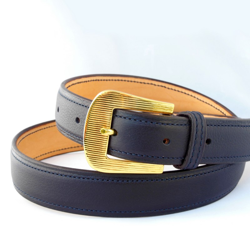 Black Novo Nappa calfskin belt, with engraved buckle 30mm