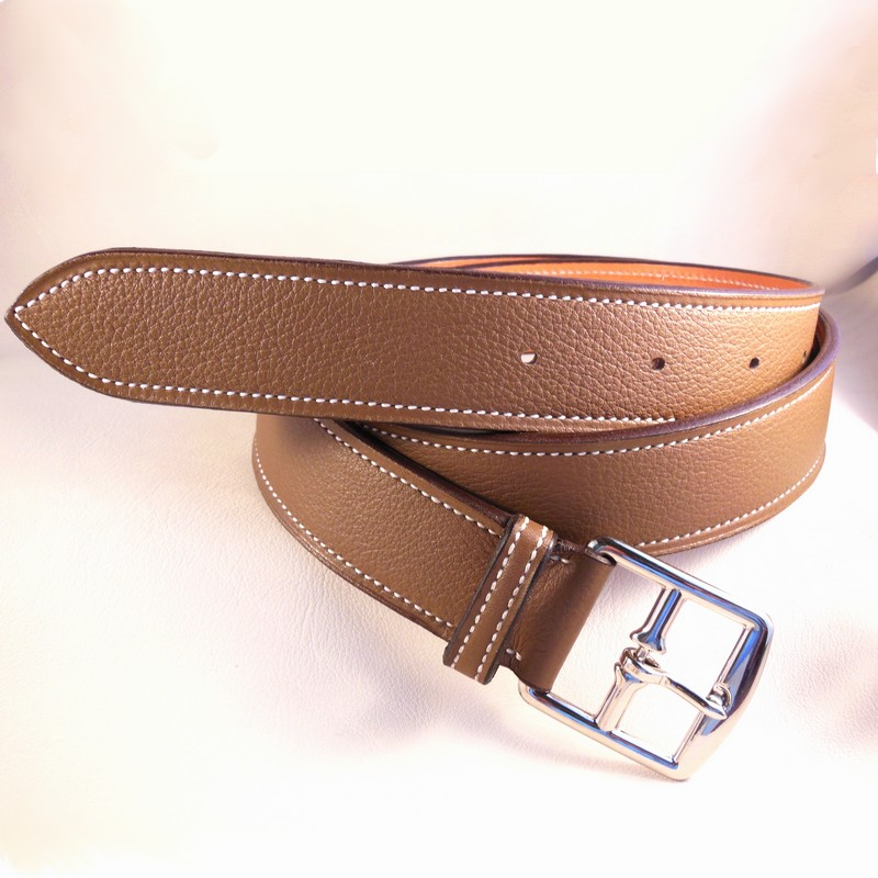 Taupe bull-calf belt, with stirrup buckle 30mm