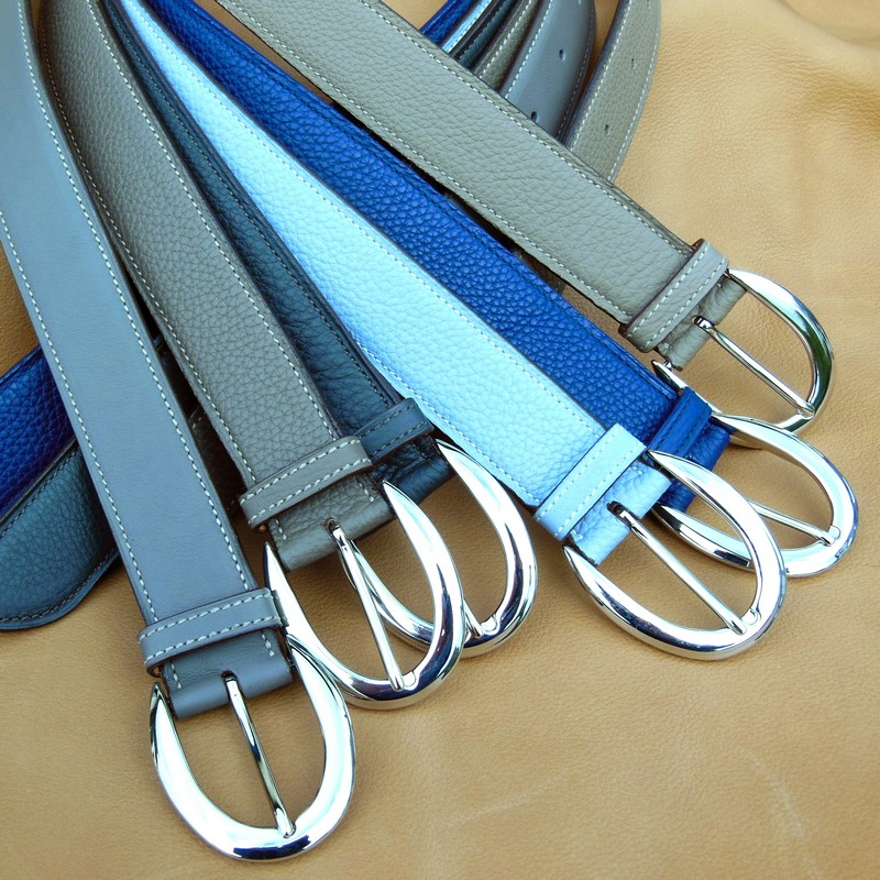 Bull-calf belts, with ogive buckles 38mm