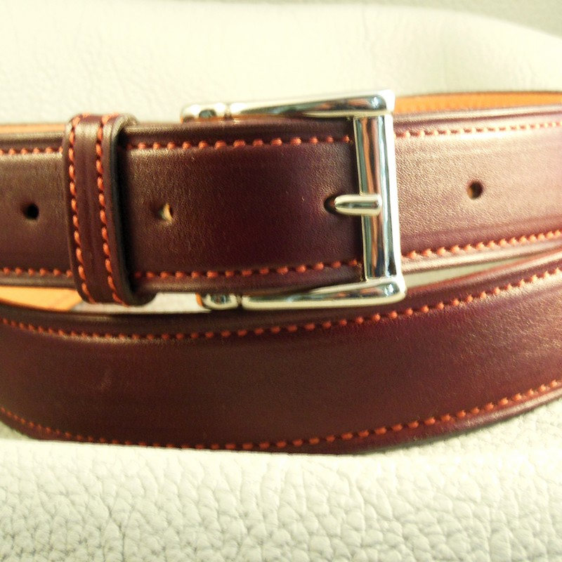 Claret-red crisp calf belt, with square buckle 30mm