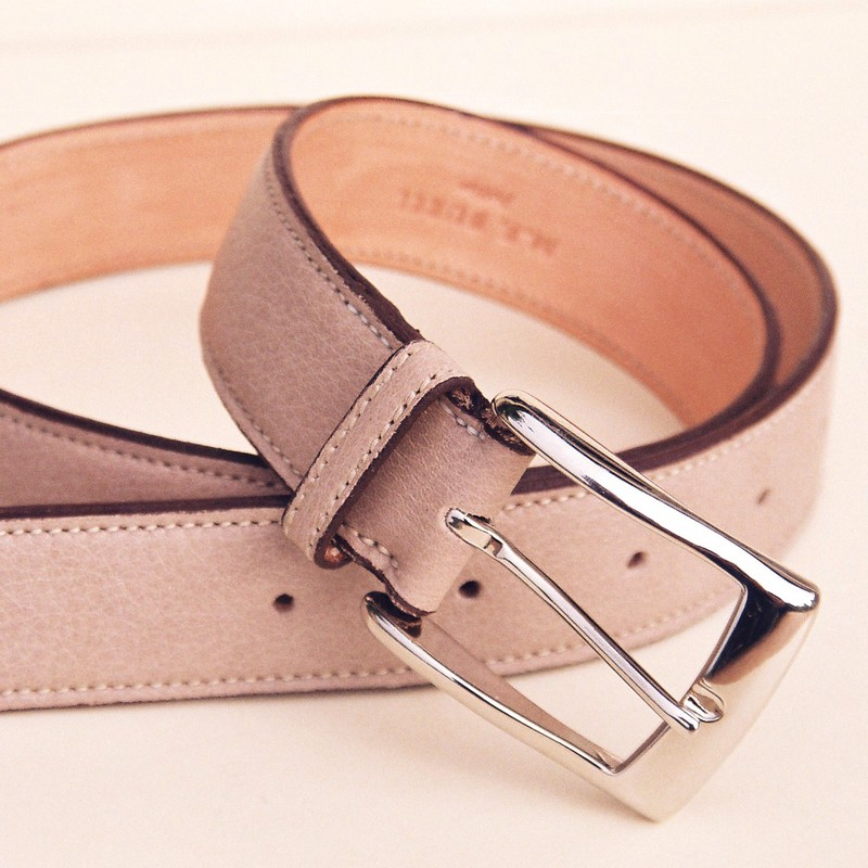Sand bull-calf belt, with rectangular buckle 30mm