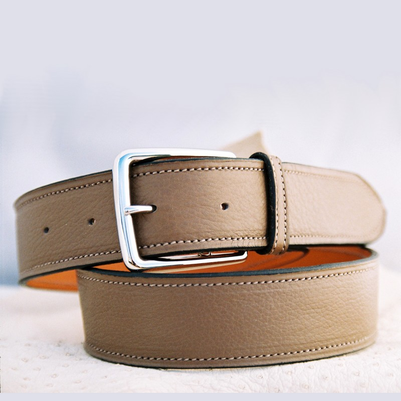 Taupe bull-calf belt, with stirrup buckle 40mm