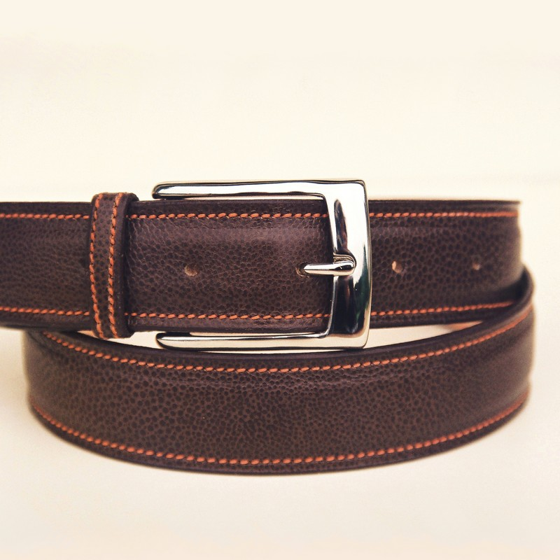 Glossy brown bull-calf belt, with rectangular buckle 36mm
