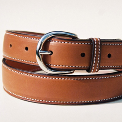 Gold Novo Nappa calfskin belt, with round buckle 30mm