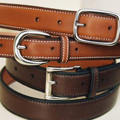 Gold and havana Novo Nappa calfskin belts, with double buckle, round and square buckles