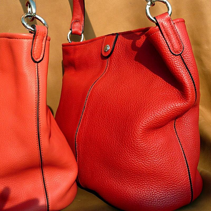 Sacs seau, taurillon rose jaipur et rouge rosso