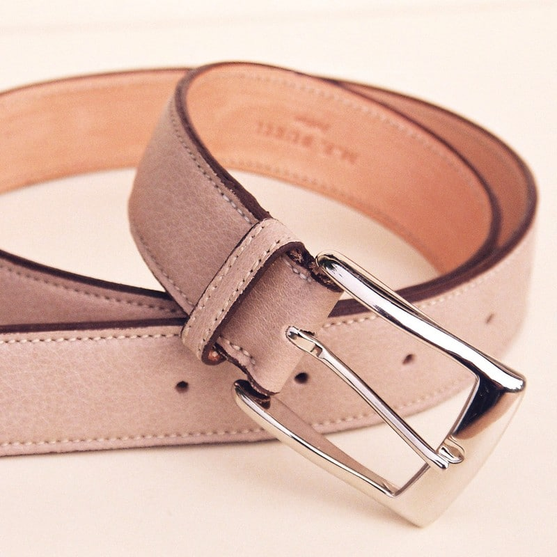 Ceinture taurillon sable, boucle rectangle 30 mm