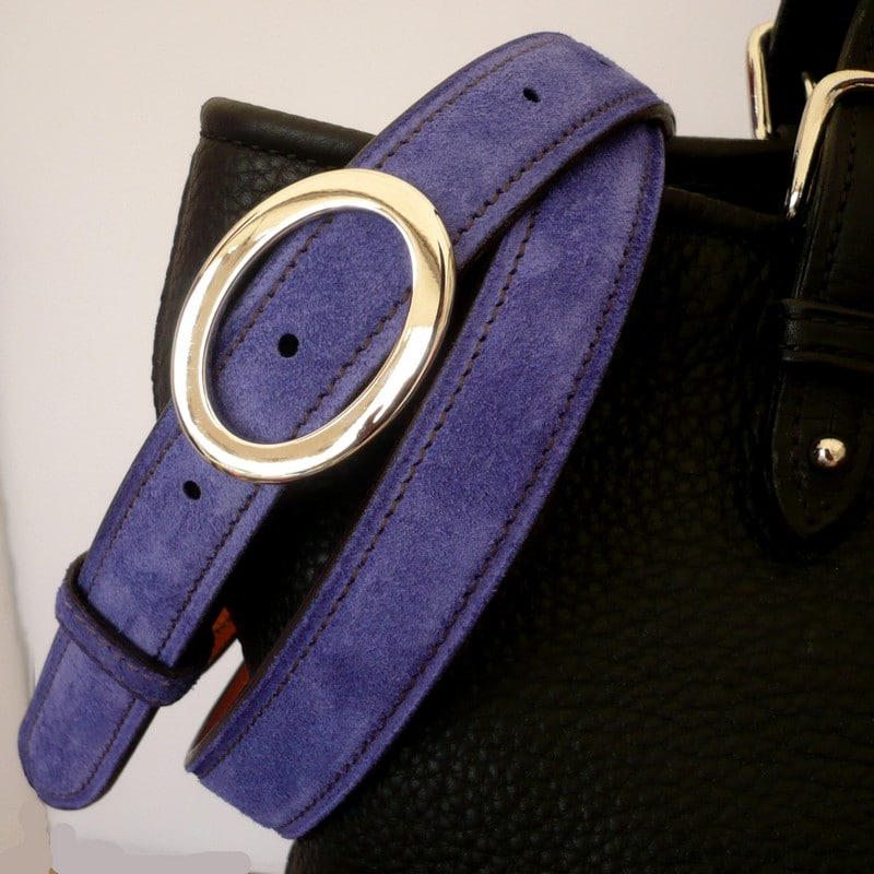 Ceinture veau velours bleu royal, boucle ovale 25mm