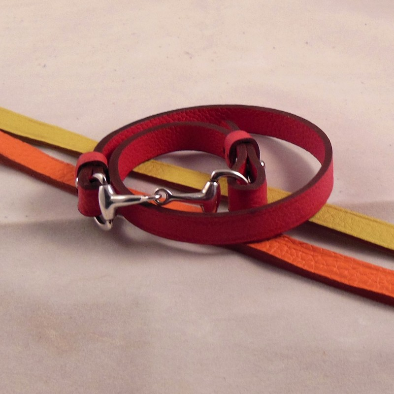 Bracelet mors double tour, taurillon rose, orange et jaune