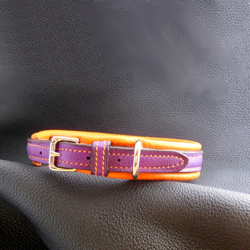 Collier doublé, taurillon orange et violet