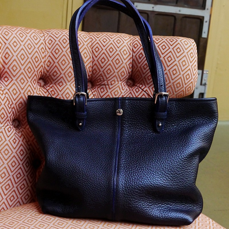 Sac shopping, taurillon bleu indigo